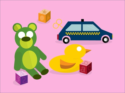 A Baby Was Here illustration children kids car blocks rubber duck bear baby toys