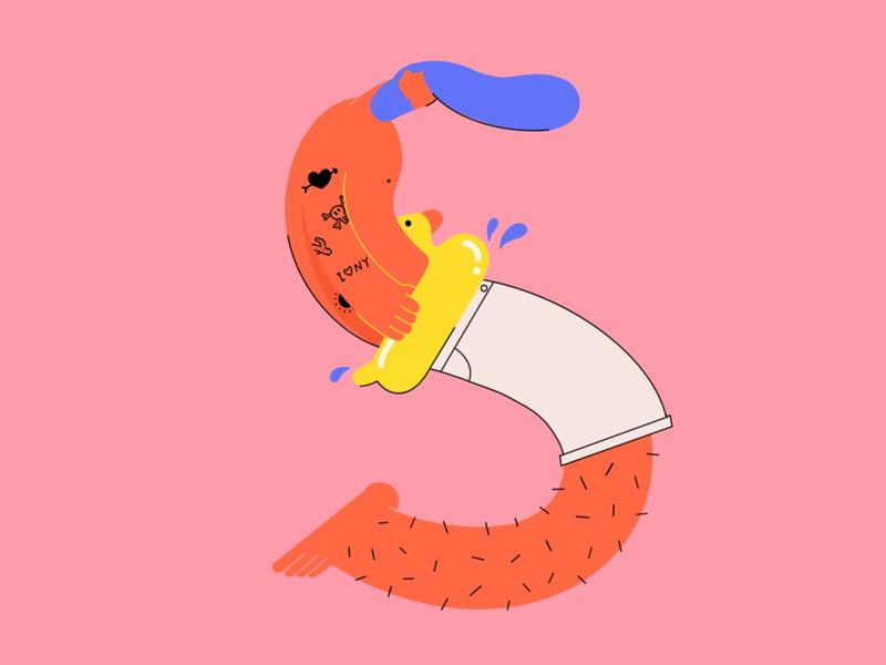 36 days of type S floatingtube duck guy man swimsuit swim summer ipad vector procreate drawing design character design illustration