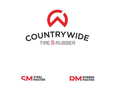 Countrywide Tire&Rubber Logo minimal illustrator branding vector logo typography lettering design