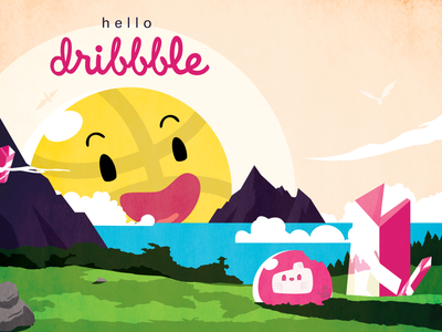 hello dribbble dribbble dribbble invite illustrator vector illustration design