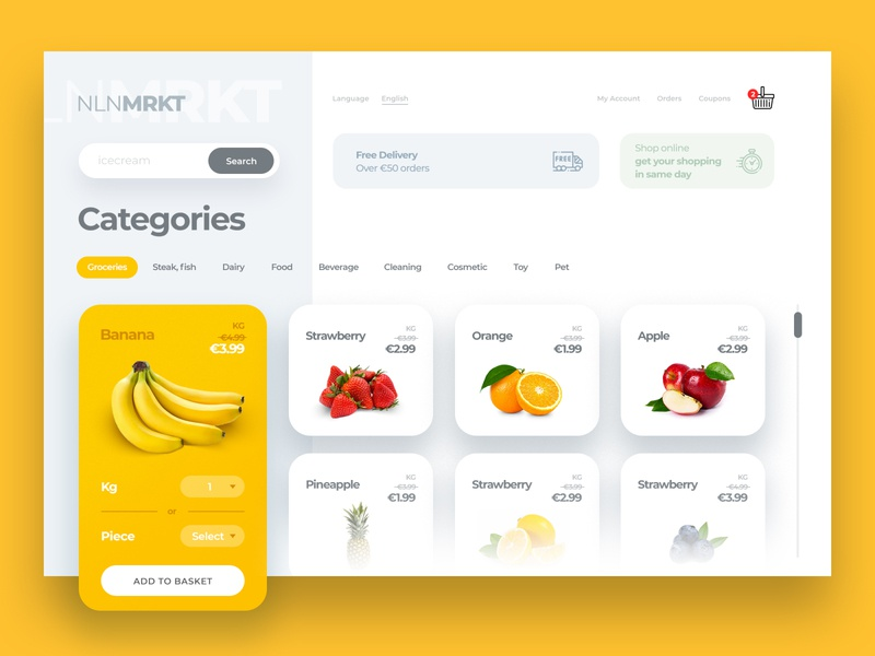 Online Grocery Market online shopping grocery online grocery store minimalist latest trend food app online store onlinefood ecommerce userexperiencedesign uiuxdesign userinterfacedesign interaction design