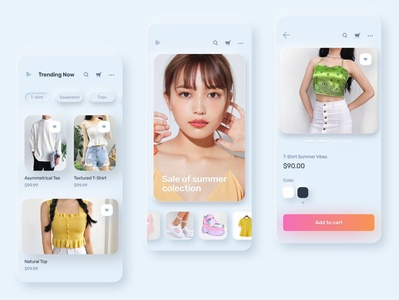 Soft Neumorphism design screen for shopping experience. neumorphism neumorphic design figmadesign figma ecommerce appui uiuxdesign userinterfacedesign visual design userexperiencedesign interaction design
