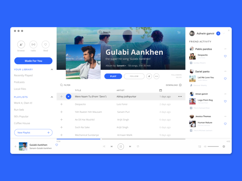 Music Player Designed for Web by Ashwin Ganvir on Dribbble