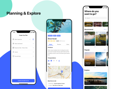 Planning and Explore figma uxresearch planning travel app travel visual design ui design adobexd uiuxdesign appui userinterfacedesign userexperiencedesign interaction design