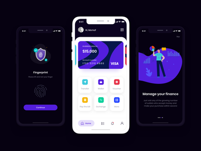 Wallet App procreate adobe photoshop adobe xd ui adobexd uiuxdesign appui visual design userinterfacedesign userexperiencedesign interaction design
