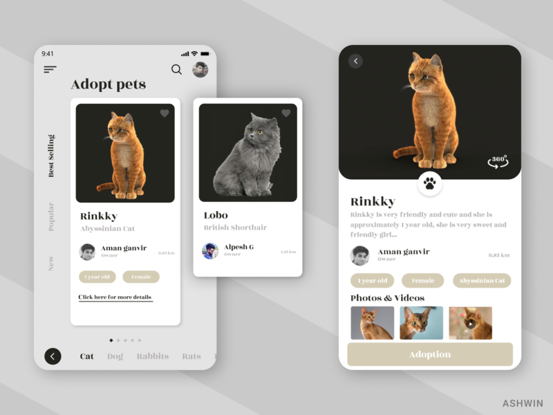 Pets Adoption Interface design ui  ux appui ui design petshop pets adopt ecommerce figmadesign figma visual design userinterfacedesign userexperiencedesign interaction design
