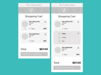 Shopping cart wireframes