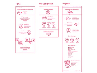 Freehand wires small business childcare wireframe