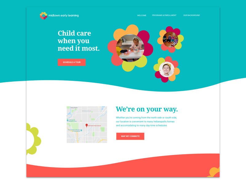 Midtown Early Learning visual design small business branding graphic design ui landing page
