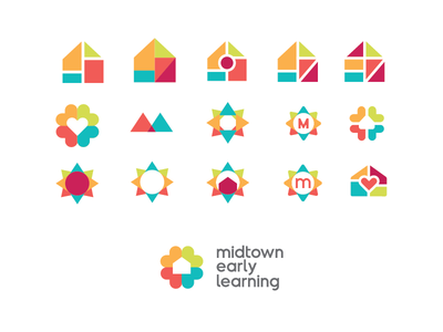 Midtown Early Learning logo brainstorm small business graphic design logo design process