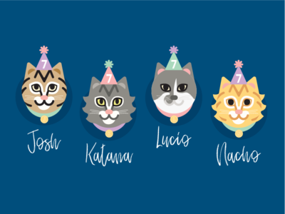 Cat Lineup meow illustration birthday cats