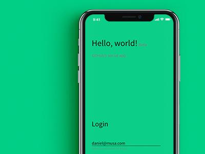 Hello, world!—GitHub's First Social Media App adobe xd adobe mobile app iphone x hello world username ui mobile minimal login ios github app
