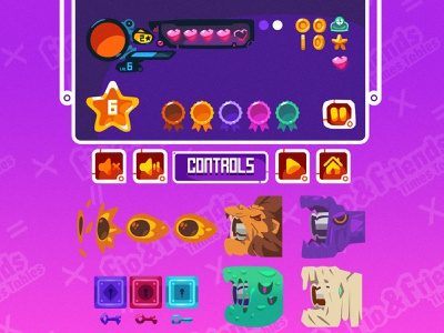[2D Game Art] Educational with CueBall Games 4-2 user interface design user interface assets game elements ux ui zat3am platformer 2d game art game artist game art