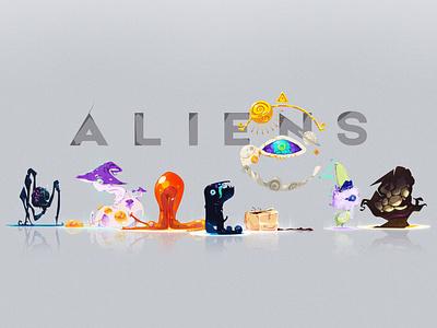 ALIENS vector art zat3am art series illustration concept art character design creature design art project creatures