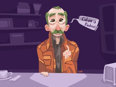 Cohee O Kudasai vector cafe green stache moustache mustache illustration cohee coffee