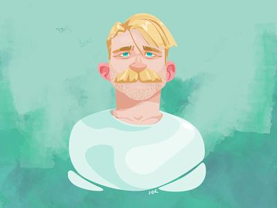 Golden study portrait blonde mustache stache art illustration vector zat3am