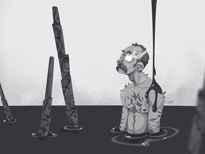 Darkside shining depression dark character photoshop vector illustration art zat3am