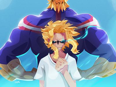 All Might myheroacademia allmight fanart anime character photoshop vector illustration art zat3am