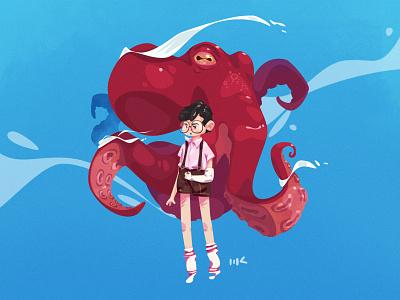 #DTIYS 04 childhood octopus characterdesign vector illustration zat3am drawthisinyourstyle