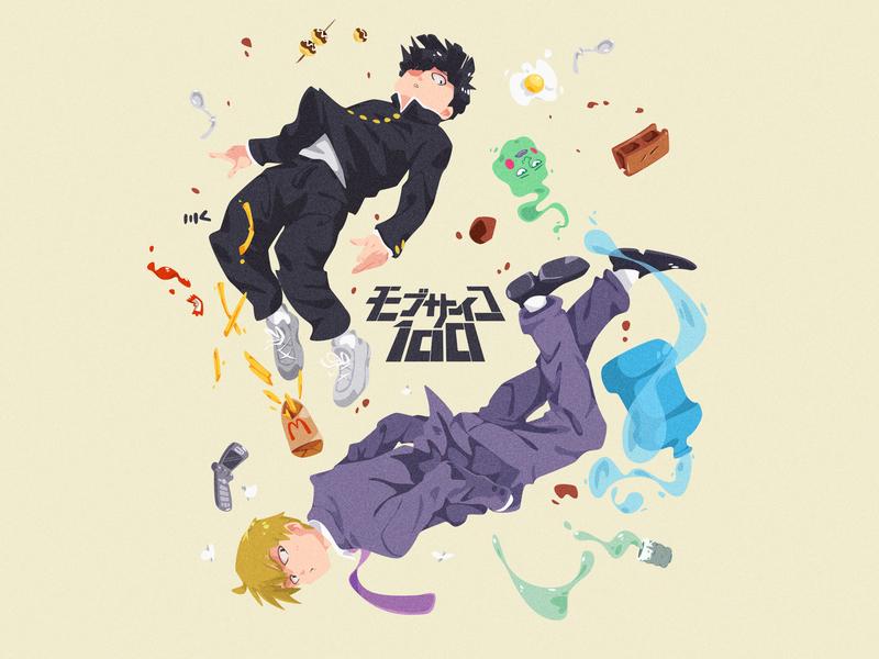 Shigeo x Reigen characterdesign digitalart character art vector illustration zat3am dimple ekubo reigen shigeo fanart anime mobpsycho100