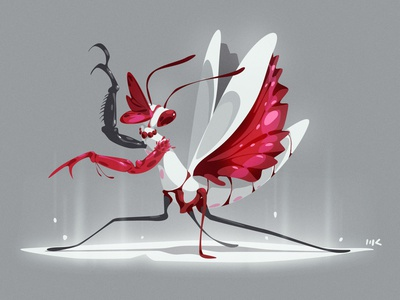 Kabuki Kamakiri digitalart vector illustration zat3am cdchallenge characterdesign kamakiri mantis kabuki