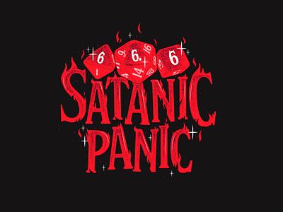 Satanic Panic Graphic Tee t-shirt design screen print graphic tee dice satanic panic dungeons and dragons apparel design illustrator helen oldham illustration