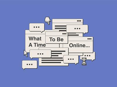 What a Time to Be Online screenprint t-shirt design web apparel design illustrator helen oldham illustration