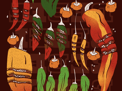 Rebel Peppers rebel poster spicy hot chile chiles pepper peppers design illustrator helen oldham illustration