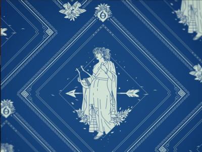 Erato Bandana Design poetry beauty apparel woman women mythology greek erato kickstarter campaign kickstarter fashion accessories bandana 9 muses muses muse design illustrator helen oldham illustration
