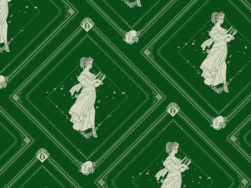 Terpsichore Bandana Design sirens dance the 9 muses women woman mythology muse kickstarter campaign kickstarter greek design beauty bandana apparel illustrator helen oldham illustration