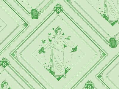 Calliope Bandana Design calliope poetry epic the 9 muses women woman mythology muse kickstarter campaign kickstarter greek design beauty bandana apparel illustrator helen oldham illustration