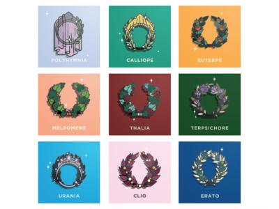 The Nine Muses Enamel Pins