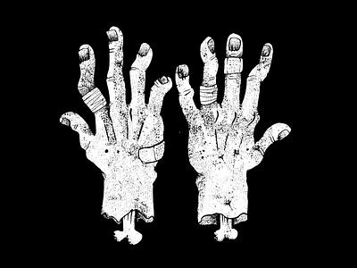 Climbing Hands gnarly blackandwhite gritty grundge illustration illustrator hand drawn hands