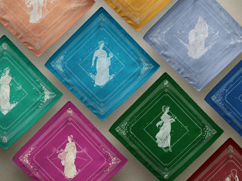 The Nine Muses Project vector poetry the 9 muses women woman mythology kickstarter beauty apparel kickstarter campaign illustrator greek illustration helen oldham muse bandana