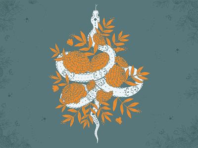 Marigold Snake snake marigolds flowers floral day of the dead screen print helen oldham illustrator illustration