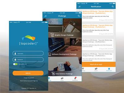 Topcoder Apps Redesign application notification splash screen design topcoder uiux ux ui