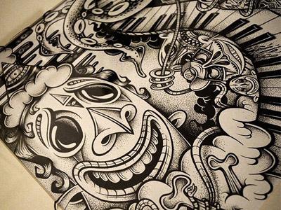 Music Is The Key illustration bw cuke mike friedrich hrlqn harlequin berlin black white paper