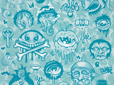 Characters mike friedrich illustration vector character blue sick evil cuke berlin design custom art apparel
