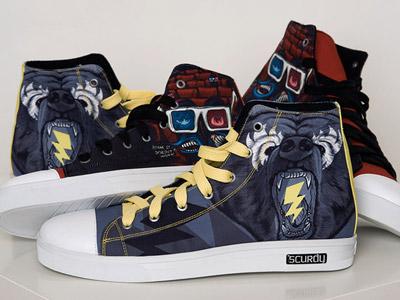 Custom Sneaker illustration mike friedrich scurdy custom art sneaker design thrillin bear 3d fake