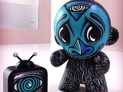"Custom 8"" Munny HRLQN mike friedrich john reaktor illustration design custom custom art vinyl toy toy toys munny kidrobot berlin sam crew"