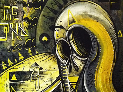 King of the End mike friedrich painting king of the end acryl dark yellow canvas character berlin
