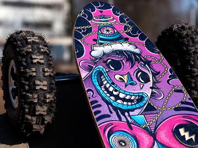 Custom Electric Longboard mike friedrich design illustration longboard custom art fiik lovelysystems