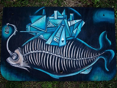 The Fish mike friedrich illustration vector character blue sick evil cuke berlin design custom art apparel