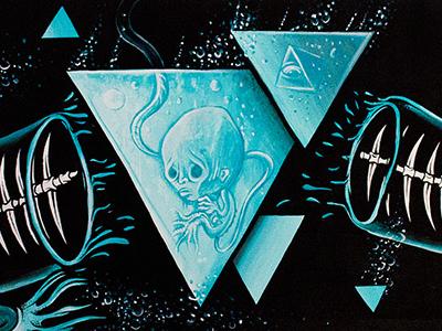 Leviathan painting mf cuke acryl canvas blue black deep sea leviathan