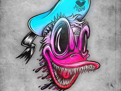 Evil DDuck mike friedrich cuke illustration digital illustrator mickey mouse micky mouse hrlqn donald duck donald harlequin