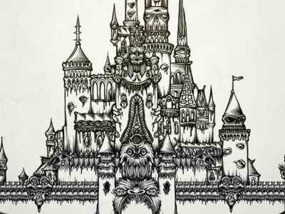 Castle of Dreams b/w mike friedrich cuke illustration digital illustrator mickey mouse micky mouse hrlqn harlequin