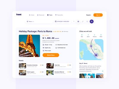Tour Booking Platform travel agency traveling travel tourism tour booking app booking branding concept web site dashboard website ux ui design web