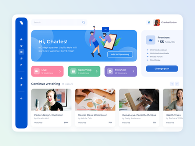 User Profile for Webinar Platform platform webinar streaming app streaming live chat livestream vector social concept web site website dashboard ux ui design