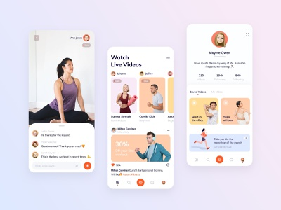 Live streaming fitness platform sports design fitness platform fitness app platform streaming app streaming ios dashboard design