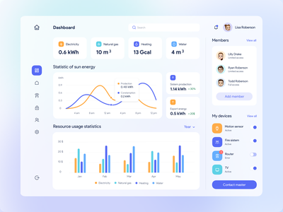 Dashboard for a smart home app typography illustration social concept website dashboard ux ui design web